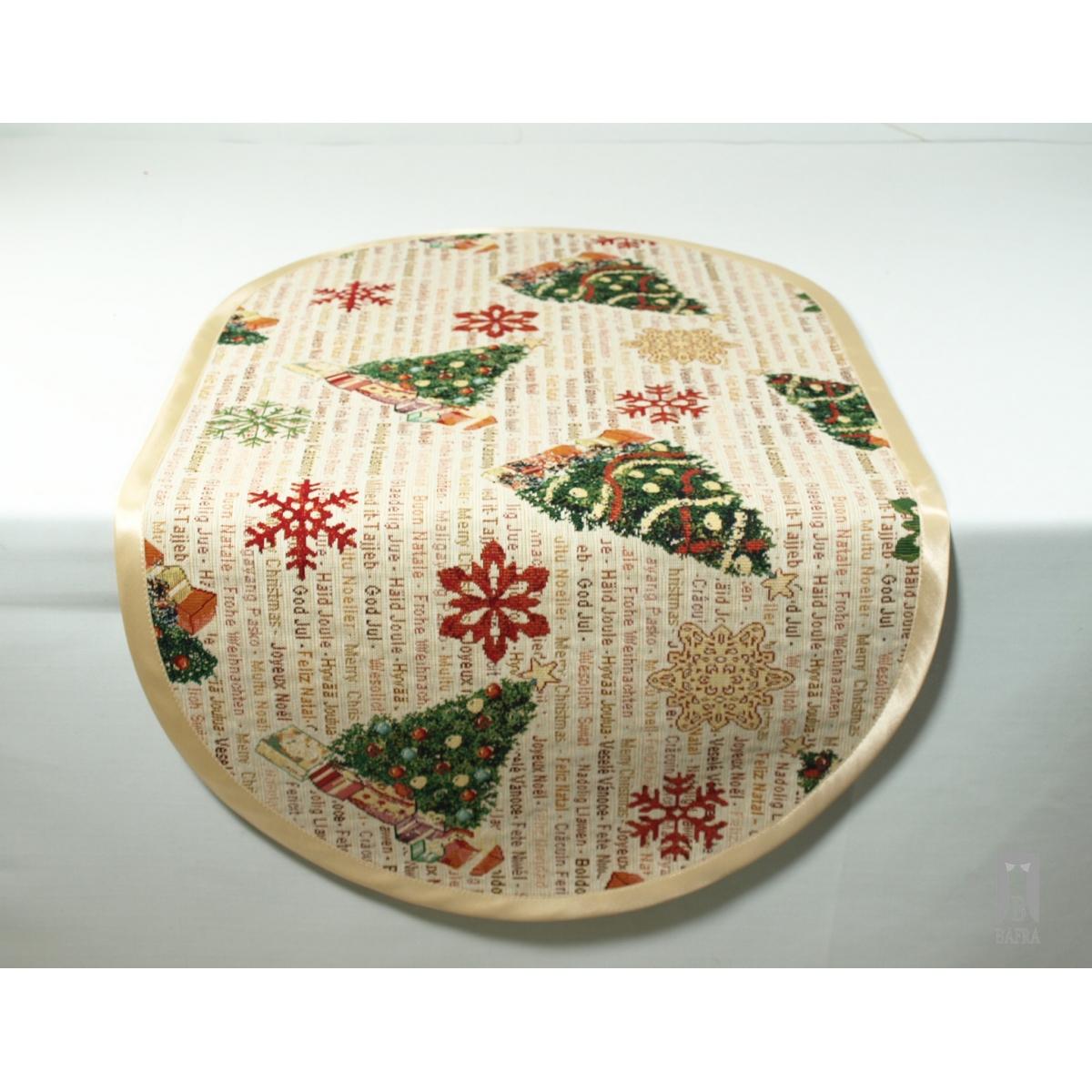 serweta świąteczna - choinki owal