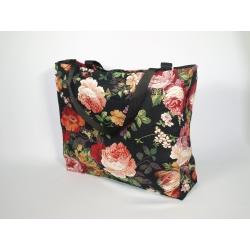 Torba damska shopper gobelinowa róża czarna z zamkiem