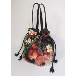 Torba gobelinowa róża czarna ze sznurkiem - mała