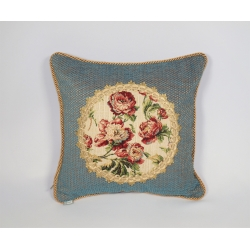 Poduszka z aplikacją gobelinową róża drobna
