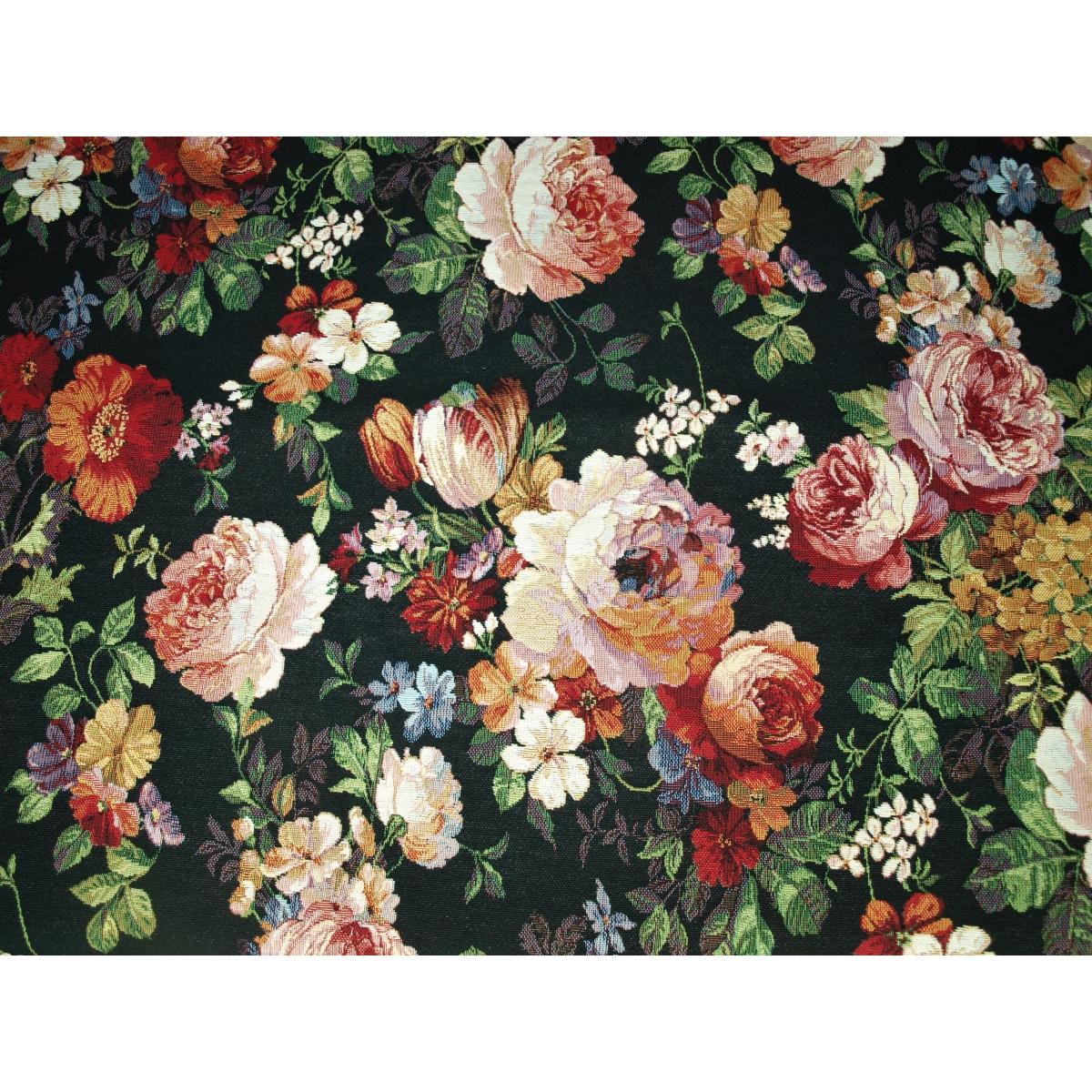 Tkanina gobelinowa róża czarna