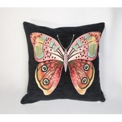 Poszewka szenilowa Motyl Czarna