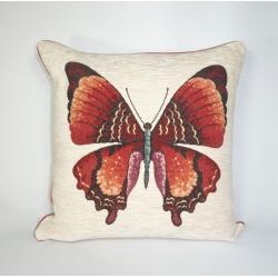 Poduszka szenilowa Motyl Beż z wypustką