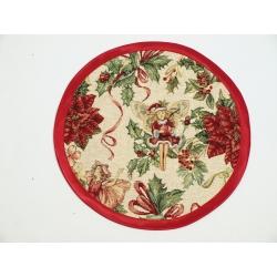 Serweta świąteczna gobelinowa Elfy lurex - koło