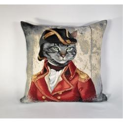 Poduszka gobelinowa Kot Napoleon czerwony - Jednostronna