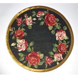 Serweta Róża wianek lamówka złota - koło