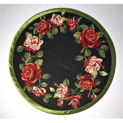 Serweta Róża wianek lamówka zielona - koło