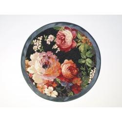 Serweta gobelinowa róża czarna lamówka - koło